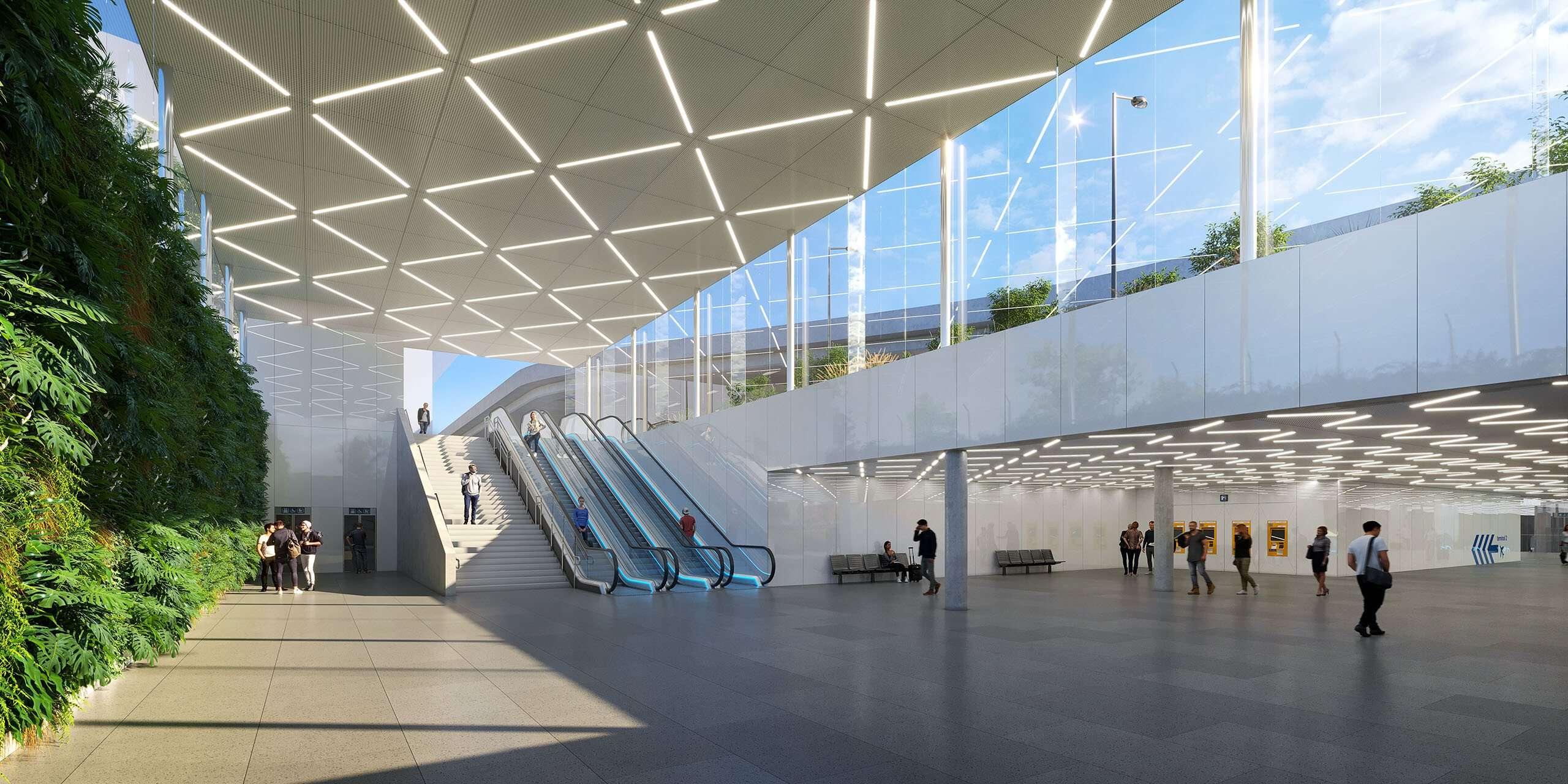 Projekt železniční stanice na pražském letišti